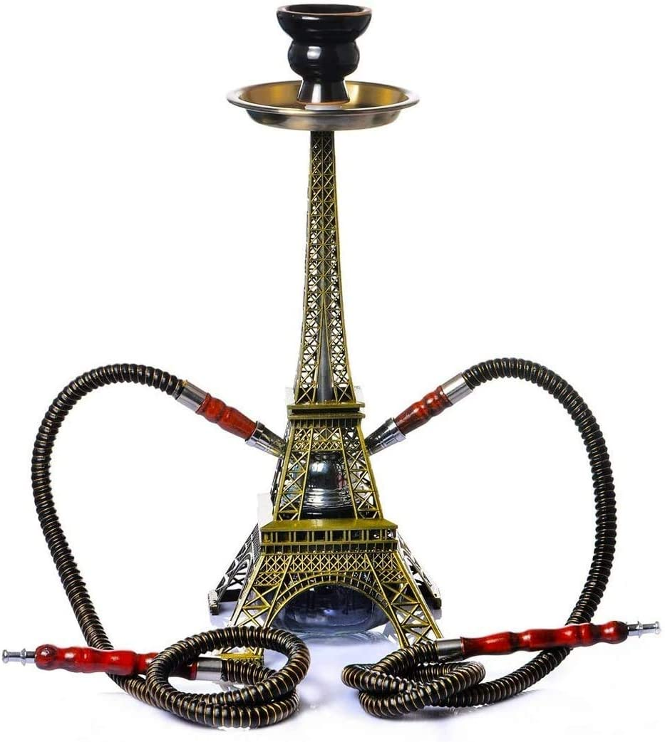 DASFNVBIDFAHB 2 Tubos for 2 Persona, Creativo Shisha cachimba Conjunto, Forma Eiffel Tower Kit con Tazón de cerámica de carbón Abrazadera de la Manguera del Conector Accessoire, Bar Suministros
