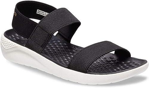 Crocs Women's LiteRide Sandal Sport, black/white, 4 M US