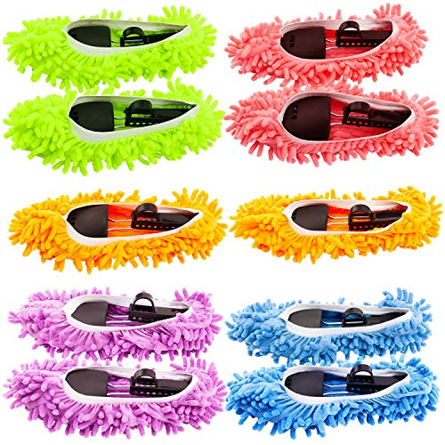 Mop Slippers Shoes Cover, Soft Washable Reusable Microfiber Foot Socks Floor Dust Dirt Hair Cleaner for Bathroom Office Kitchen House Polishing Cleaning (5 Pairs)
