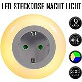 Emotionlite Luce Notturna LED con Sensore Crepuscolare Luce Notturna Integrato in Zoccolo Indicatore Modalità D'illuminazione 0.6W 3 Colori (Verde, Blu, Bianco) Intercambiabile Max.3680W(1 pacco)