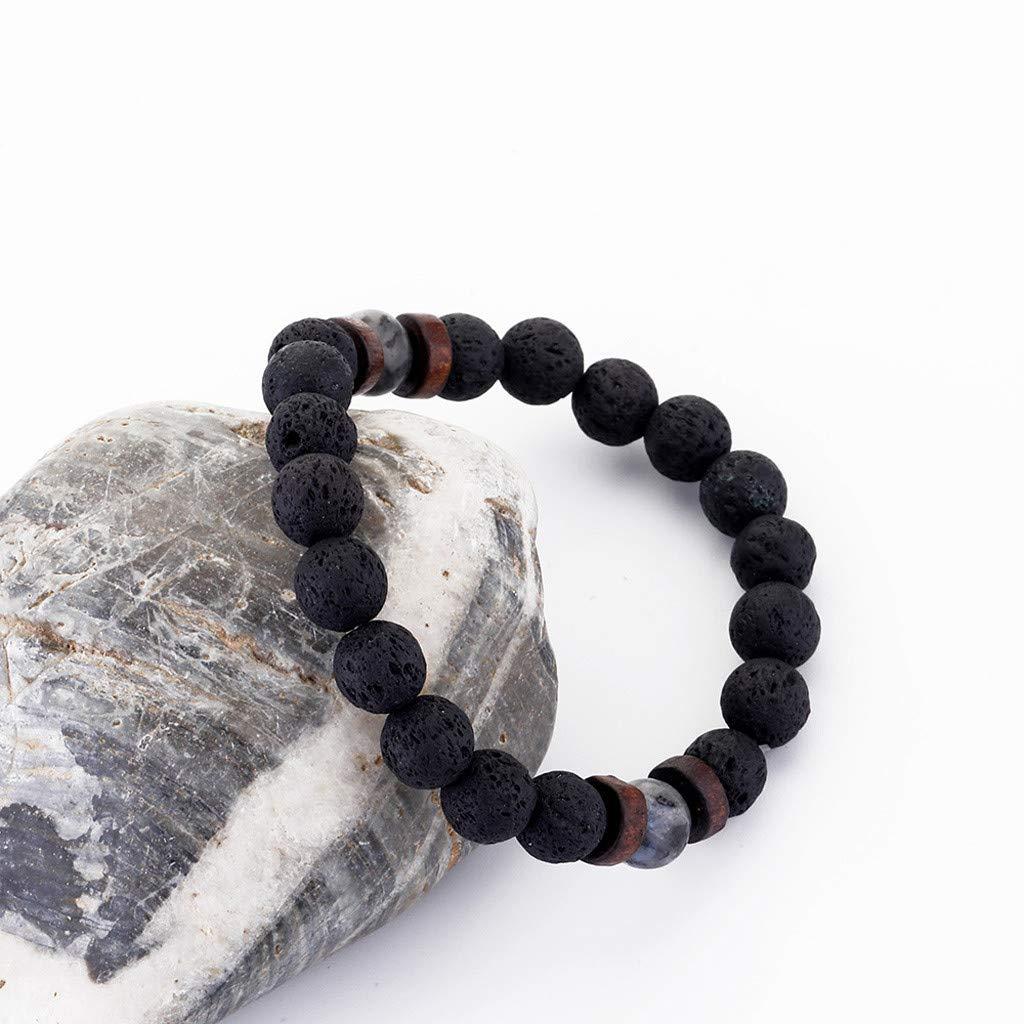 Oillian Unisex Bangle Simple Natural Lava Volcanic Stone Bracelets Adjustable Charm Bracelet Jewelry Gift for Women Girl Sister Mother Friends