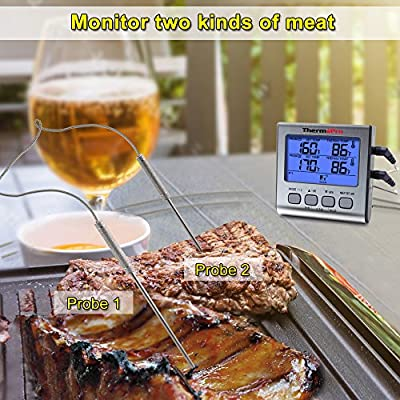 ThermoPro TP17 Dual Probe Digital Cooking Meat Thermometer Large LCD Backlight Food Grill Thermometer with Timer Mode for Smoker Oven BBQ