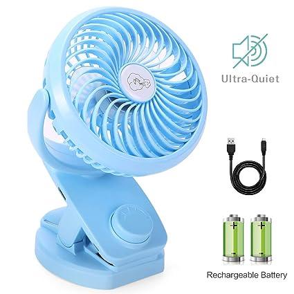 Mini Ventilador Clip Ventilador 4400mAh Batería Ventilador De Escritorio USB Activado Ventilador Silencioso Pequeño Personal Portátil