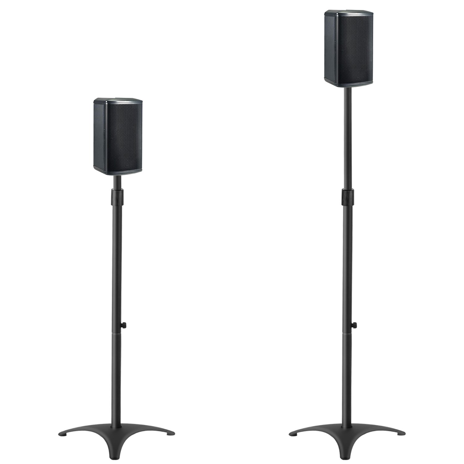Mounting Dream MD5401 Height Adjustable Speaker Stands Mounts, Two in One Floor Stands, Heavy Duty Base and ExtendableTube with 11 LBS Capacity Per Stand, 35.5-48'' Height Adjustment