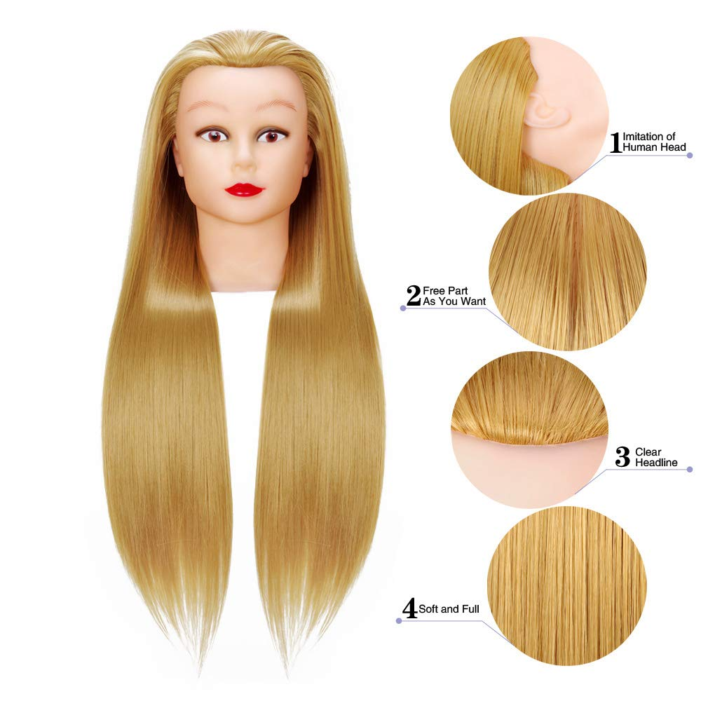 Cosmetology Mannequin Head Hair Styling 26-28inches Training Head Synthetic Fiber Manikin Head Doll Head with Clamp (27#) by Rruaneal