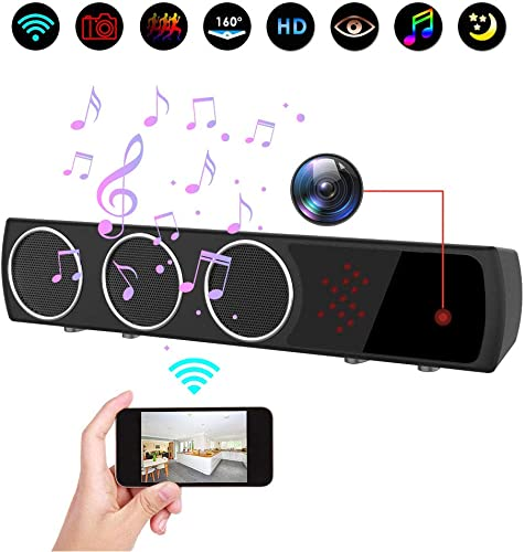 Hidden Camera in Bluetooth Speaker with Stronger Night Vision, Wireless 1080P WiFi HD Spy Camera with Motion Detection Real-Time View Mini Nanny Cam for Room, Office or Shop