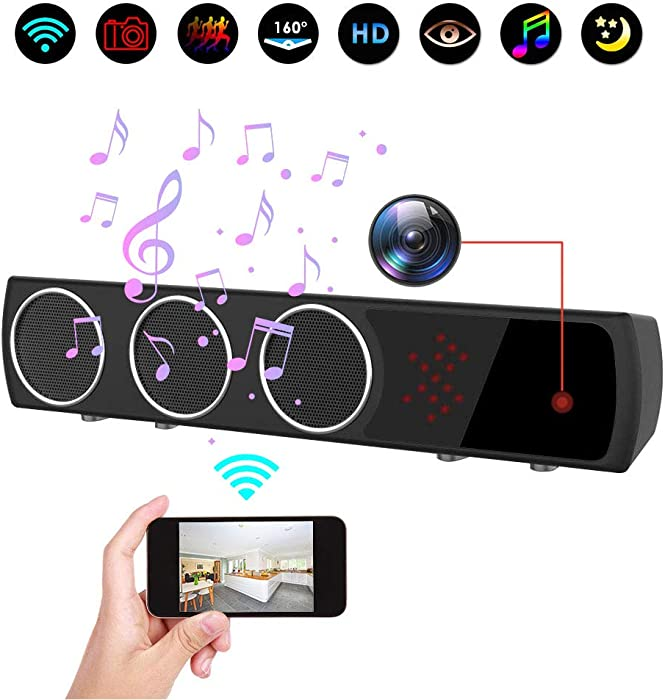 Hidden Camera in Bluetooth Speaker with Stronger Night Vision, Wireless 1080P WiFi HD Spy Camera with Motion Detection/Real-Time View Mini Nanny Cam for Room, Office or Shop