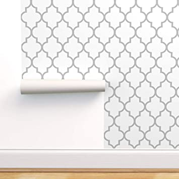 Peel-and-Stick Removable Wallpaper Moroccan Quatrefoil Modern Ogee Cream