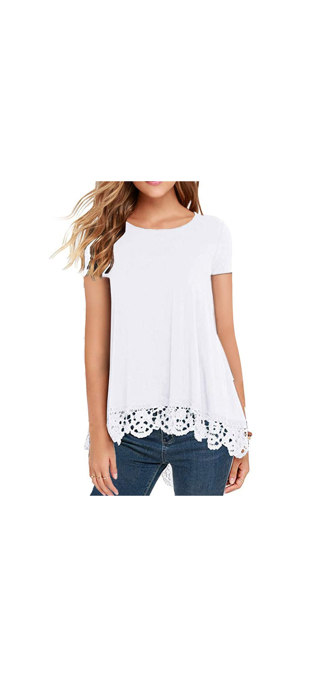 Women's Tops Short Sleeve Lace Trim O-neck A-line Tunic