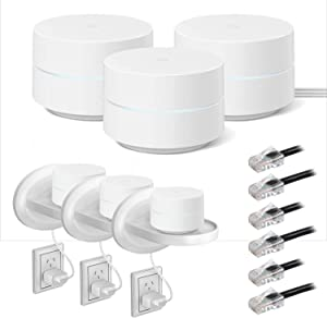 Google WiFi Mesh Network System Router AC1200 Point, 3-Pack (GA02430-US) Bundle with Wall Mount Shelf Stand for Google Wi-Fi & Home and ZERObootCat6 Ethernet Patch Cable (3Pk)