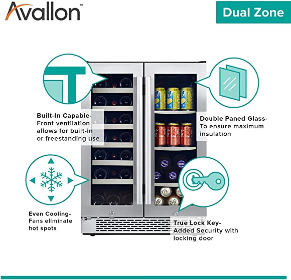 Avallon AWBC241GGFD 24 Inch Wide 21 Bottle and 60 Can Capacity Built-In Wine and Beverage Cooler