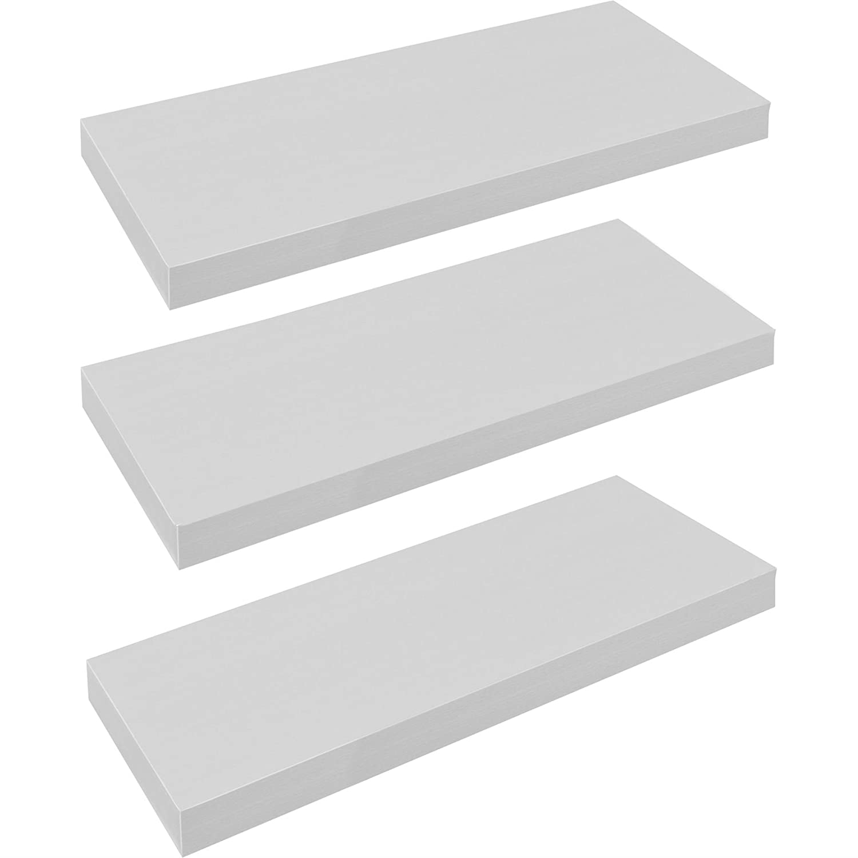 in Legno Confezione da 3 Mensole Fluttuanti da Parete Harbour Housewares 60 cm Colore Bianco