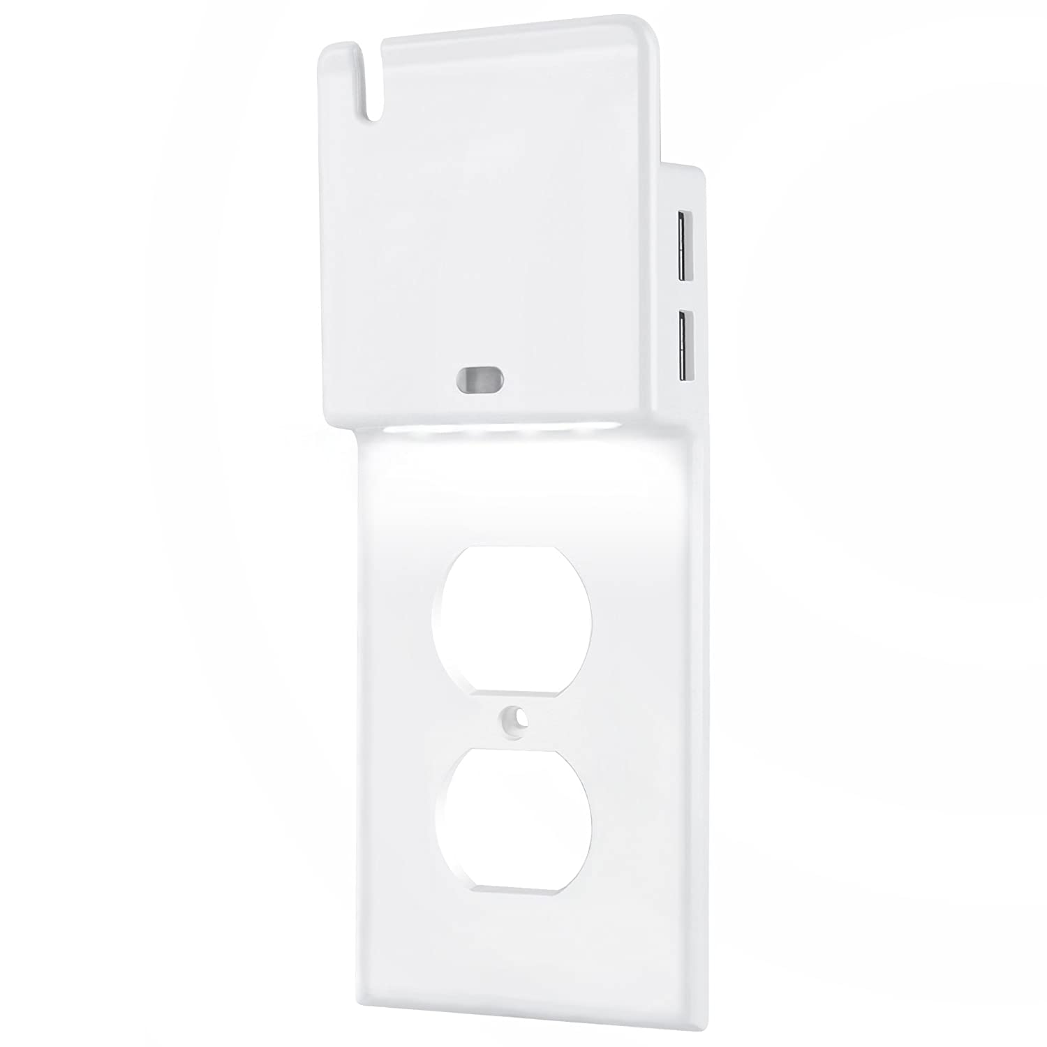 ELECTEK Advanced Wall Plate for Duplex Receptacle Outlet, with White LED Night Light, Dual USB Charging Ports (Total 3.1Amp) and Phone Holder, Easy Installation, White