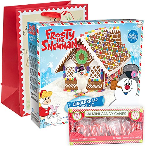 Frosty The Snowman Gingerbread House Kit Pre-baked + Pack of 30 Mini Peppermint Candy Cane + Holiday Themed Gift Basket Bag | Build It Yourself DIY Kit Fruity Gummies Mint Swirls Pre-made Icing.