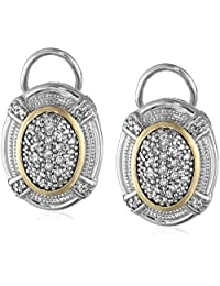 Sterling Silver and 14k Yellow Gold Oval Pave Diamond Earrings (.23cttw, I-J Color, I3 Clarity)