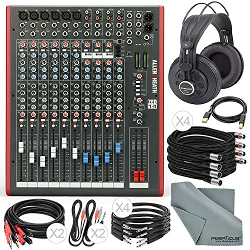 Allen & Heath ZED14 14-Channel Recording Live Sound Mixer with USB Interface and Deluxe Bundle w/ Semi-Open Studio Reference Headphones,13x Cables, Fibertique (Heath Zed Mixer 14)