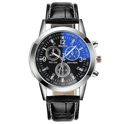 Reloj de pulsera mujer hombre ❤ Amlaiworld Moda Relojes Unisex Banda de cuero de cuarzo