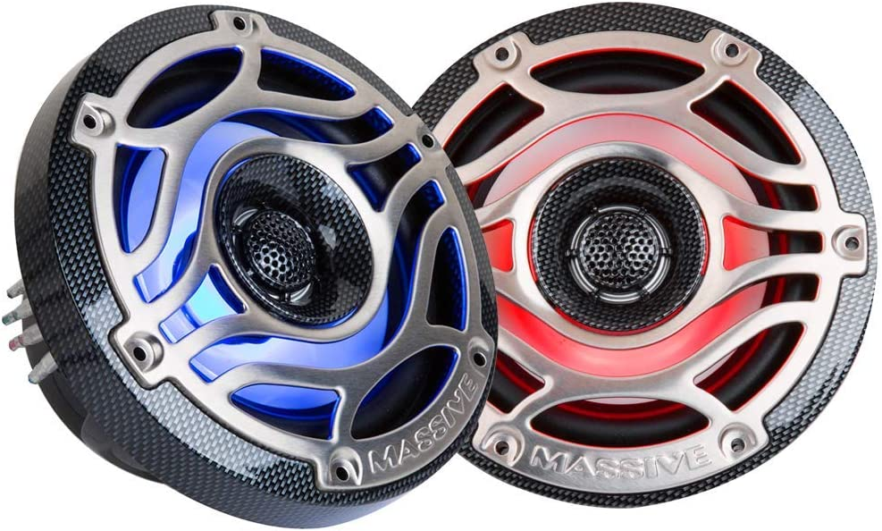 Runabouts with Multi Color RGB LED Pulse Lighting UTVS Gold Carts Massive Audio 6.5 Inch 80 Watts RMS // 320 Watts Peak Off Road Motorcycles T65XE Marine Coaxial Speakers for Boats