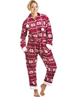 Camille Womens Ladies Red And White Nordic Supersoft All In One Onesie