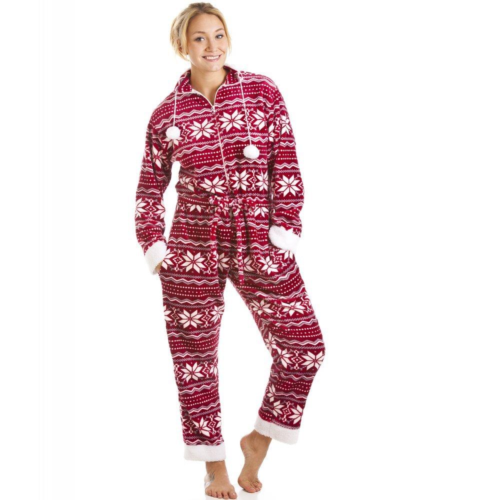 Camille - Pijama de una Pieza Suave para Mujer - Estampado nórdico - Rojo y Blanco