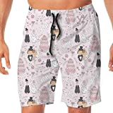 Haixia Men Adjustable Swim Short Wedding Decorations Hand Drawn Pattern of Coup