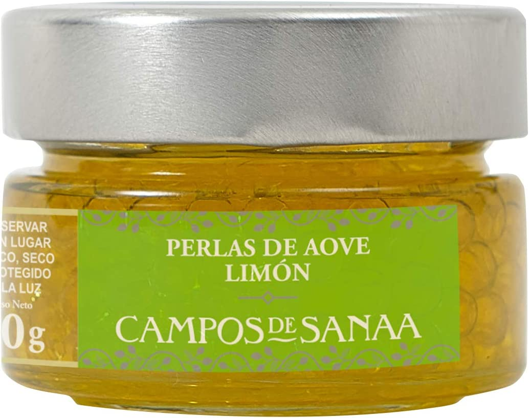 CAMPOS DE SANAA .- Perlas de Aceite de Oliva Virgen Extra aroma a Limón (50g)