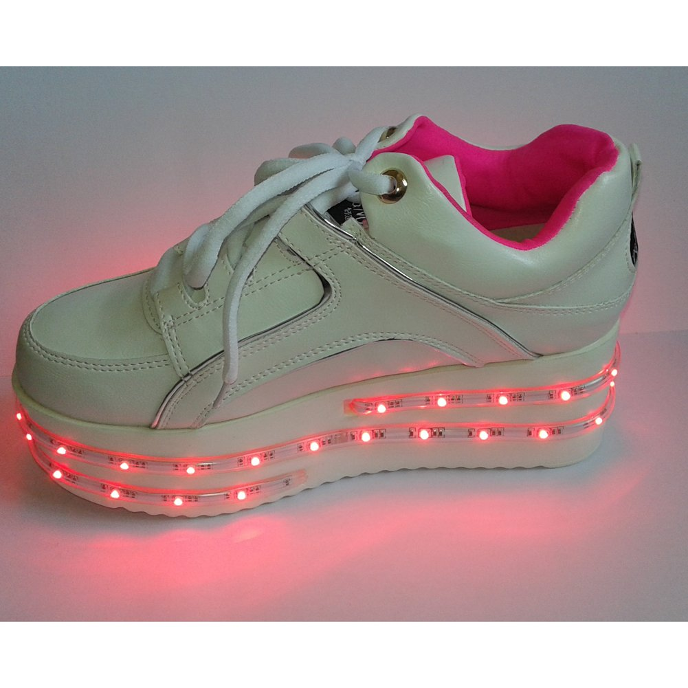 ACEVER Fashion Shoes Multi-Color Changing LED Shoes Flashing Sneakers USB Charging LED Lighted Luminous Couple Casual Shoes Men's and Women's LED Shoes LED Sneakers Christmas Cosplay Halloween Party Rave Party Valentine's Day Gift Sports Shoes Prom Party