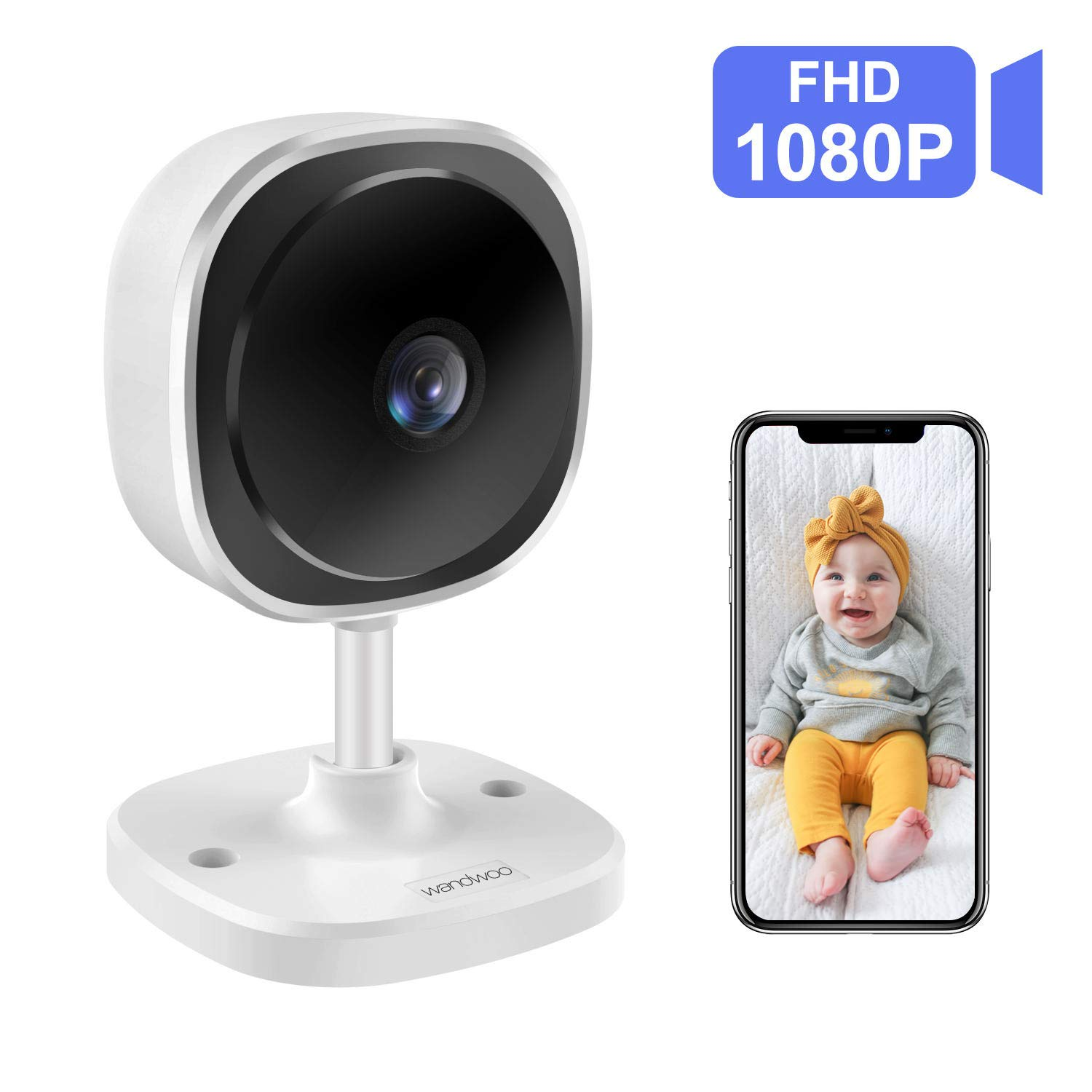 wandwoo Wireless 1080P Security Camera, WiFi IP Camera with 2 Way Audio,180 Fisheye Panoramic Security Camera Support Night Vision,Motion Detection,for Baby Elderly Pet Nanny Monitor White