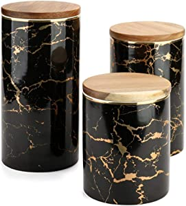 Food Storage Jar, Ceramic Kitchen Canisters with Airtight Seal Bamboo Lid, Ceramic Food Storage Canister for Tea, Coffee Bean, Spice, Sugar, Flour (98x128mm) (3 pcs/lot)