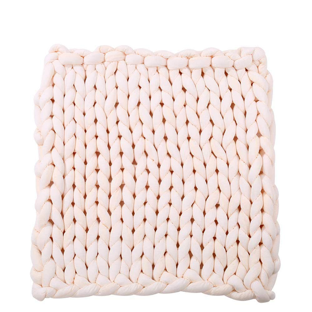Arm Knit Chunky Blanket 40''x60'' Giant Knit Blanket,Braid Cotton Blanket,Beige Super Chunky Knit Throw Home Bedroom Blanket by Hand Knit Blanket (Image #1)