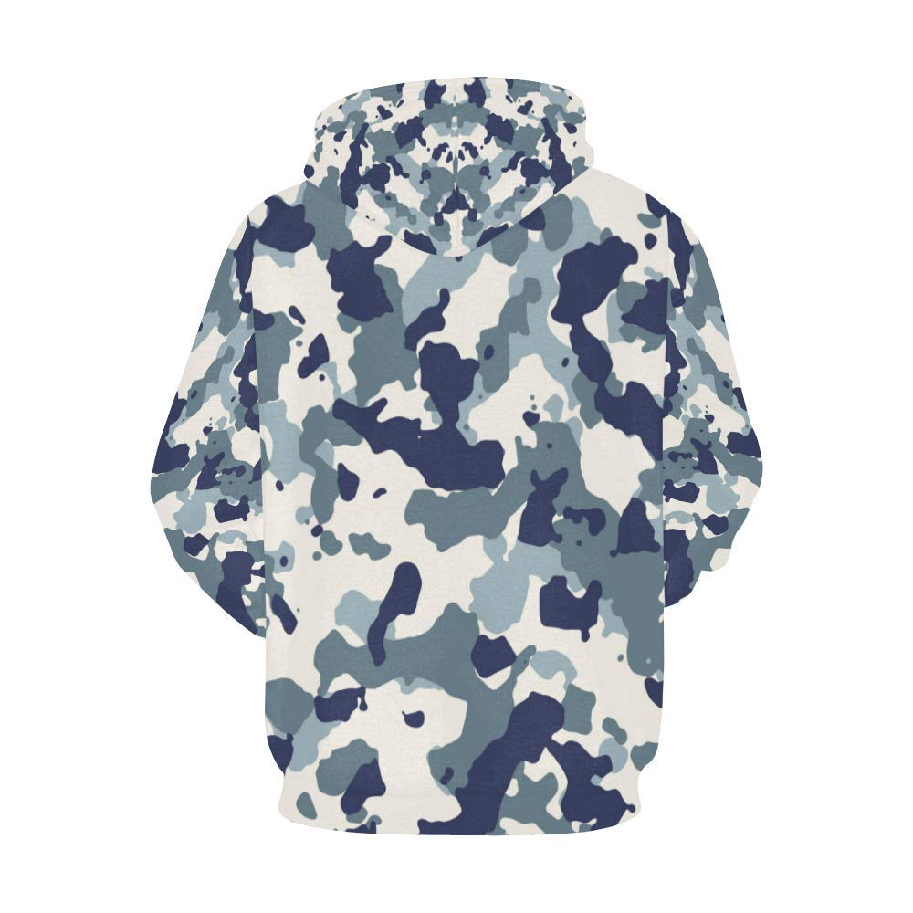 INTERESTPRINT Blue and White Camouflage Long-Sleeve All Over Print Womens Hoodie