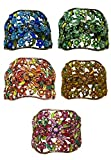 Set of 5 Crystal Flower Hair Holder Barrettes 1 Each of 5 Colors YY86900-5-5