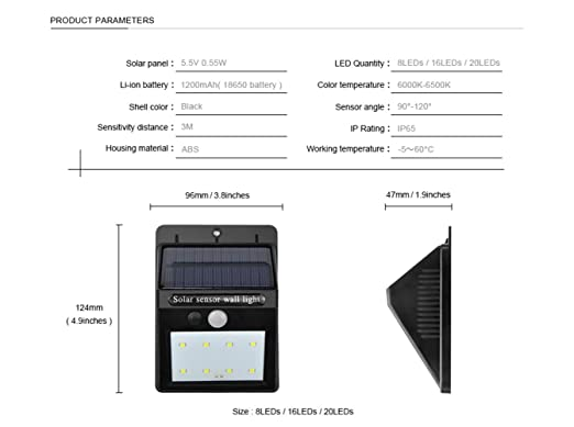 Amazon.com : Yeazyai LED Solar Radar Sensor Light Impermeabile Sensore di Movimento PIR lampada Da Parete Yard Fence Path Esterna Giardino Strada ...