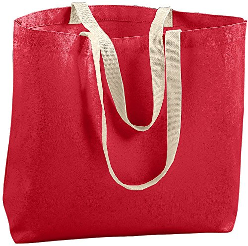 Augusta Canvas Tote - Augusta Sportswear Jumbo Tote Bag, One Size, Red