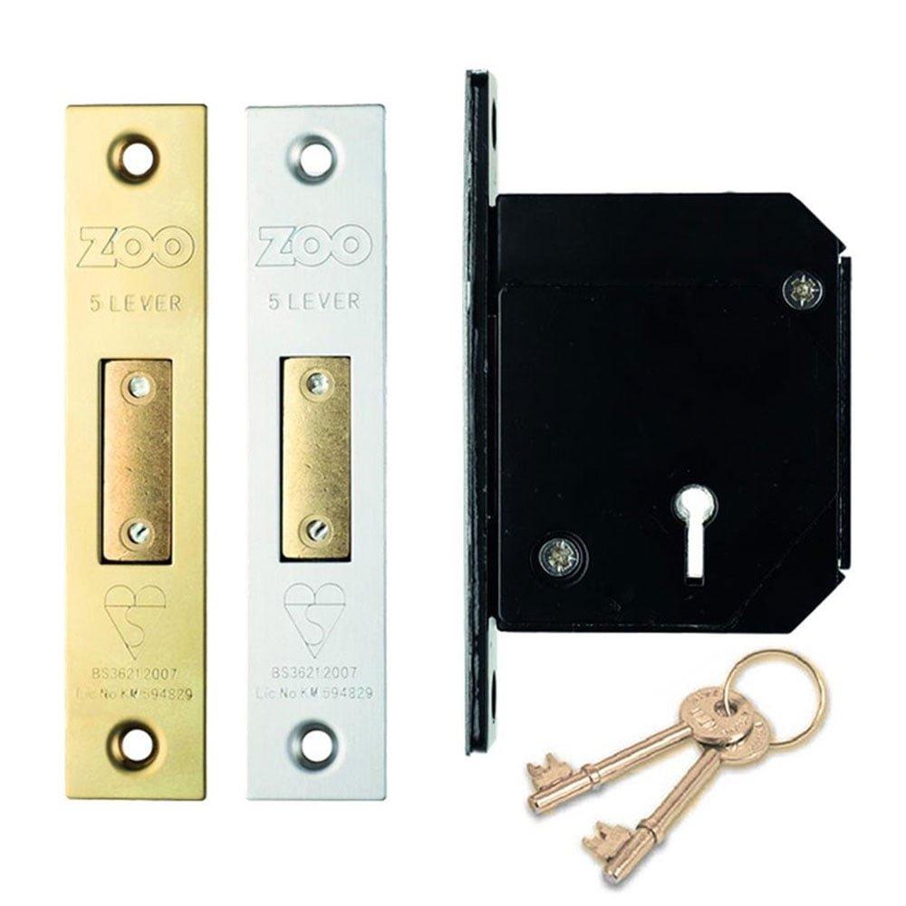 British Standard Chubb Replacement 5 Lever Dead Lock 67mm Brass Anti Tarnish Finish Zoo Hardware