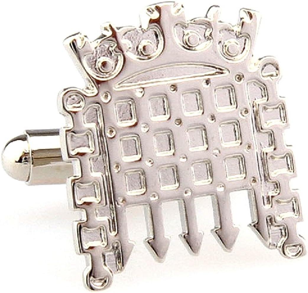 MRCUFF Castle Gate Portcullis Pair Cufflinks in a Presentation Gift Box & Polishing Cloth