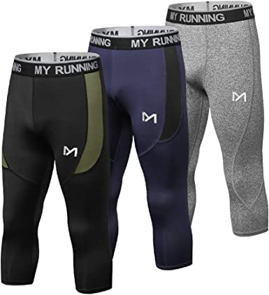 Mens Compression Leggings 3//4 Running Gym Tights Sports Pants Base Layer Bottom