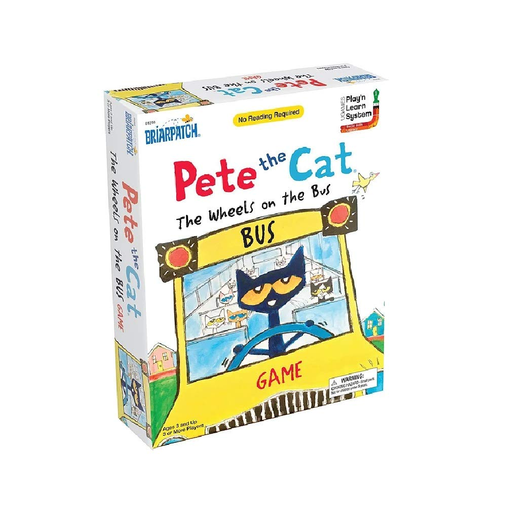 Briarpatch Pete The Cat Wheels On The Bus Sing-Along Puzzle Board Game for Kids, Ages 3 & Up