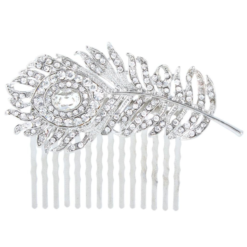 Ever Faith Austrian Crystal Wedding Peacock Feather Hair Comb A06960-2