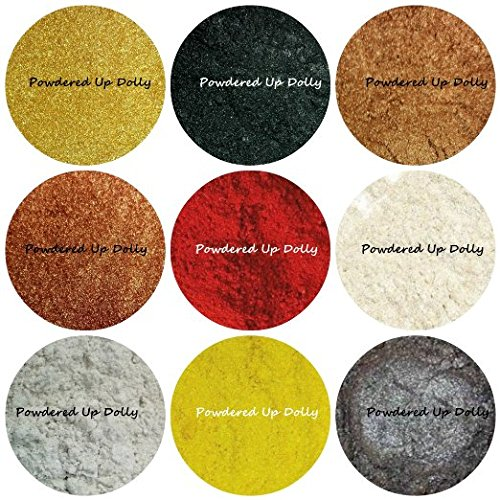 90 GRAMS TOTAL 9 Sample Micas 10G Jars Each BY VOLUME - Powder Sparkling Shimmer Micas Soap Making Cosmetic Pigments Gold BLACK Bronze COPPER Red IVORY White YELLOW Silver Colorants - 90g Jar