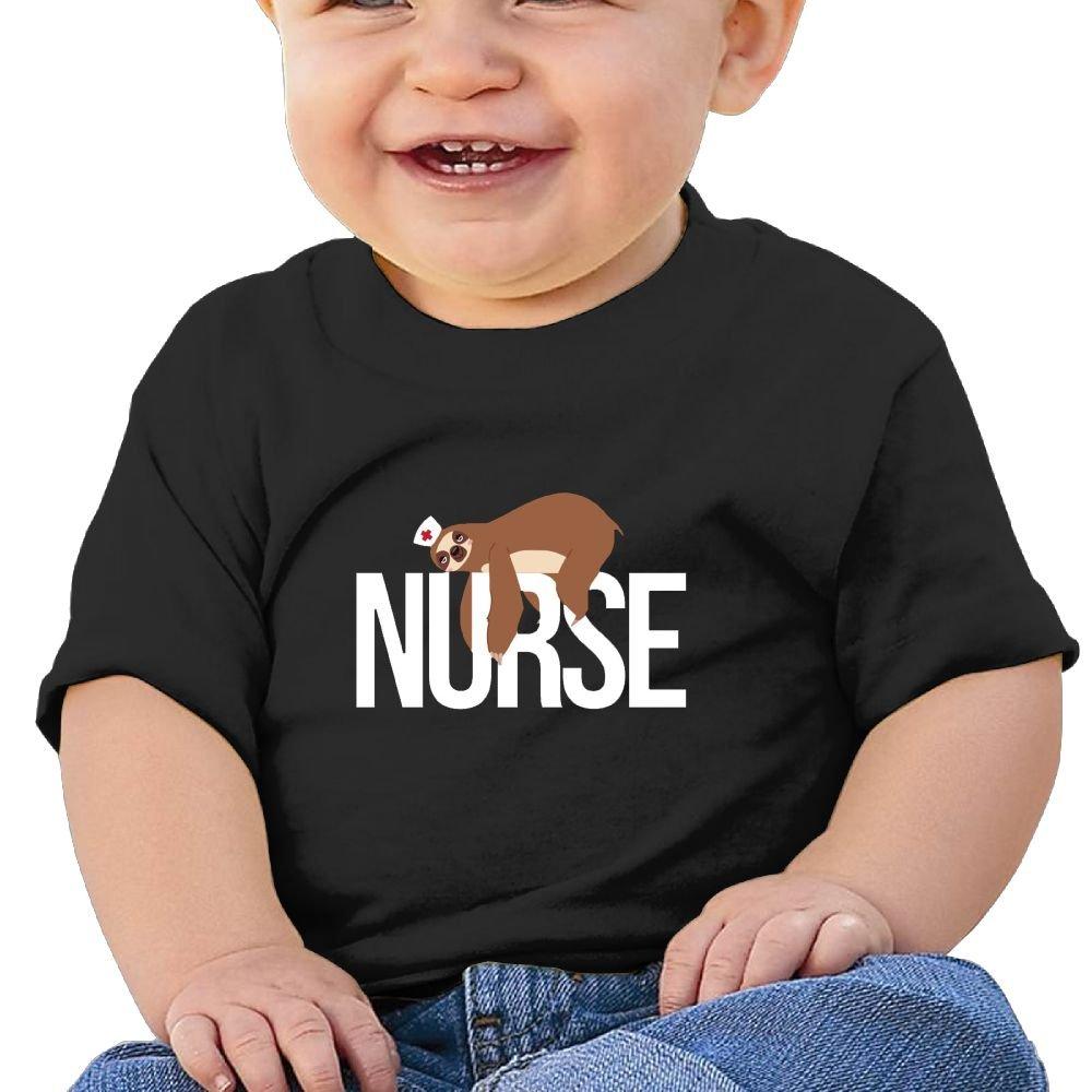 REBELN Nurse Sloth Cotton Short Sleeve T Shirts for Baby Toddler Infant