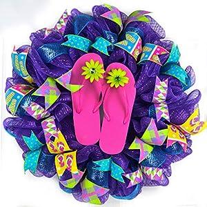Summer Mesh Front Door Wreath | Flip Flop Beach Decor | Mother's Day Gift | Purple Spring Sandals 43