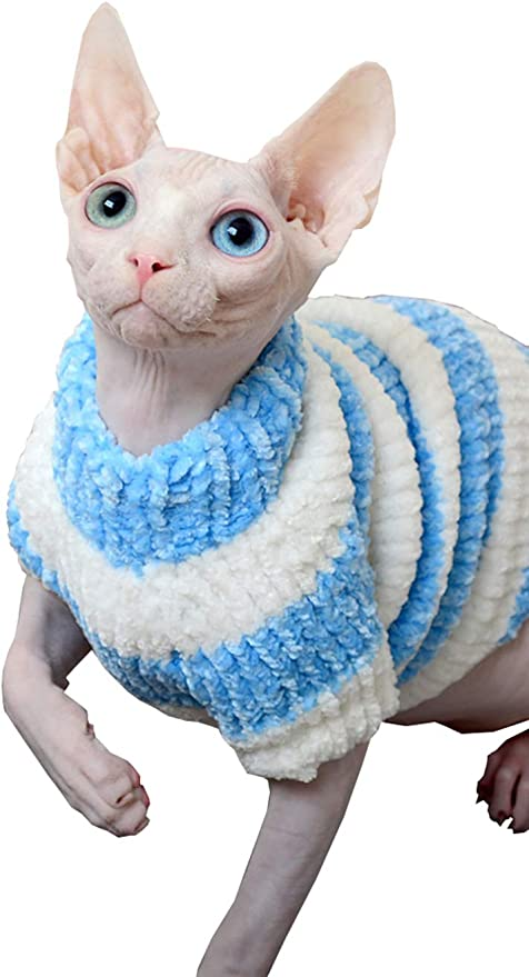 5 Colors Yellow, L Khemn Designer Cat Warm Clothes Cat Sweater Jumpsuit Cat Pajamas with Thick Fleece-Best for Hairless Cat