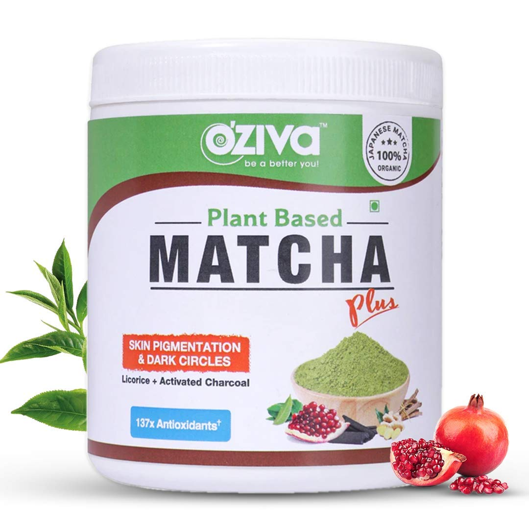 OZiva Plant Based Matcha Plus - Organic Japanese Matcha Green Tea for Skin Pigmentation & Dark Circles, 50g