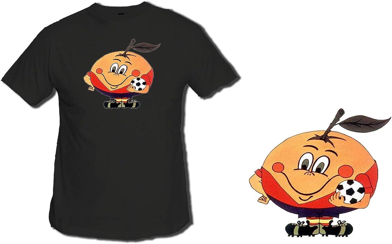 MERCHANDMANIA Camiseta Negra Naranjito Mascota Mundial ESPAÑA Tshirt: Amazon.es: Ropa y accesorios