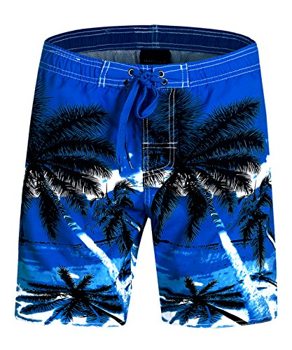 Men%27s+Swim+Trunks+Quick+Dry+Board+Shorts+With+Mesh+Lining+and+Pockets+Hawaii+Tropical+Coconut+Tree+Print+C5527+Darkblue+%28Waist%3A34%29