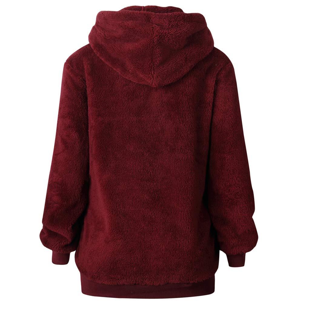 ff38c51871b Memoryee Womens Sherpa Pullover Hoodie Oversized with Fuzzy Fleece Big  Pockets Casual Loose Outwear Zip Up Warm Sweatshirt Red 5XL  Amazon.co.uk   Clothing