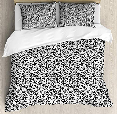 Z&L Home Black Crow Duvet Cover Bedding Sets Luxury Soft Flat Sheet Set with Pillow Shams for Kids Teen Girls Boys Men Women, Monochrome Simplicity Stylized Repetitive Pattern with Flying Birds