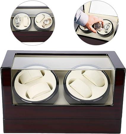 Caja de Relojes, 4 Grids Caja de Enrollador de Relojes de Rotación Automática, Estuche de Almacenamiento para Relojes de Organizadora y Exhibición(Blanco): Amazon.es: Belleza