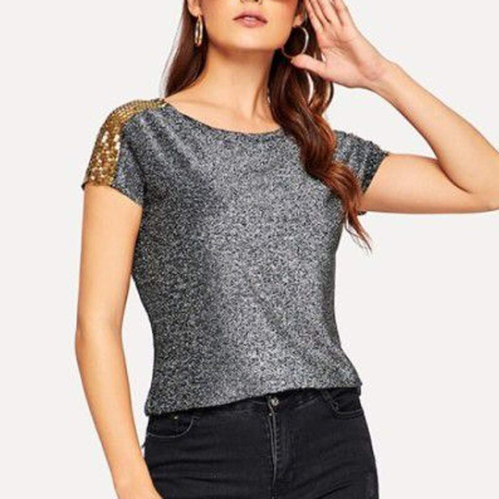 Witspace Womens Summer Bling Spakle Tops Blouse Ladies Casual Loose Short Sleeve T Shirt
